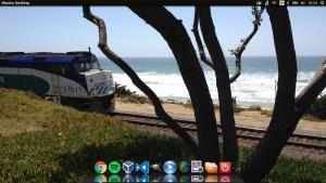 Imagem do Ubuntu usando interface gráfica do Unity com o Cairo Dock